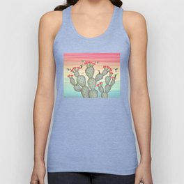 ruby throated hummingbirds & prickly pear cactus Unisex Tank Top