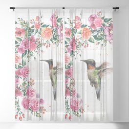 Hummingbird and Flowers Watercolor Animals Sheer Curtain
