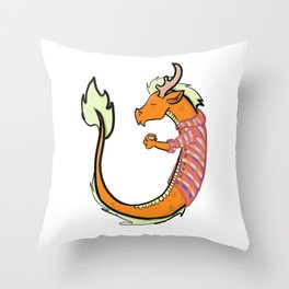 Pumpkin Spice Chinese Dragon Throw Pillow