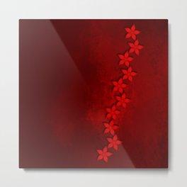 Flowers in vivid red on grunge texture Metal Print