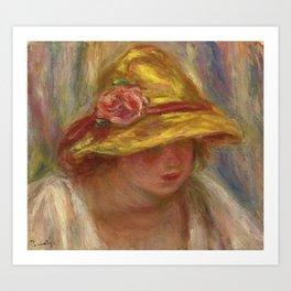 """Auguste Renoir """"Etude de femme au chapeau jaune"""" Art Print"""