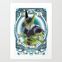 dragonball z Art Prints featuring DragonBall Z - Android House by Art of Mike