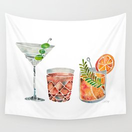 Classic Cocktails  – 1960s Watercolor Lineup Wall Tapestry