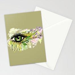Green eye with sakura Stationery Cards