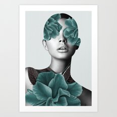 Floral Portrait (woman) Art Print