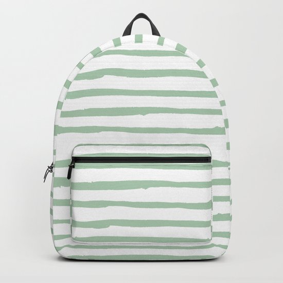 Elegant Stripes White and Pastel Cactus Green Backpack