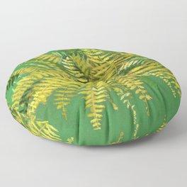 Golden Fern, Floral Painting Green Yellow  Floor Pillow
