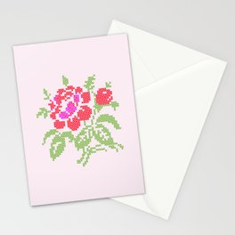 Embroidered red rose Stationery Cards