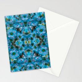 Blue Wild Flower Kaleidoscope Photographic Pattern Stationery Cards