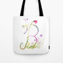 Letter B watercolor - Watercolor Monogram - Watercolor typography - Floral Monogram Tote Bag