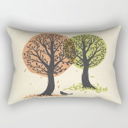 Autumn Is For The Birds Stamped Linocut Rectangular Pillow