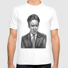 Jon Stewart SMALL White Mens Fitted Tee