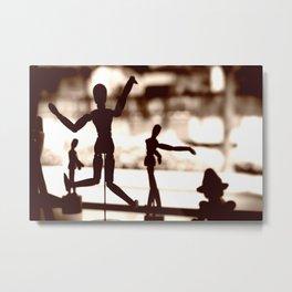Wooden Puppet Sepia Metal Print