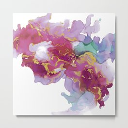 Abstract ink painting fluid art in  pink, lilach and gold Metal Print