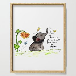 Friends are Loved by All - Baby Elephant Sunflower Butterflies Art by Annette Bailey Serving Tray