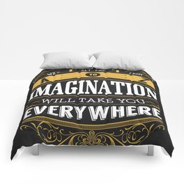 Lab No. 4 - Logic And Imagination from Albert Einstein Inspirational Quotes Poster Comforters