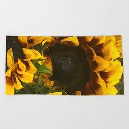 Rustic Sunflowers Dramatic Close-Up Art Photo Beach Towel