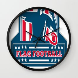 Flag Football QB Player Passing Ball Crest Retro Wall Clock