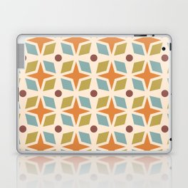 Mid Century Modern Abstract Star Dot Pattern 441 Orange Brown Blue Olive Green Laptop & iPad Skin