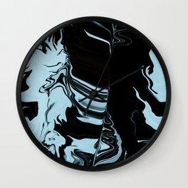 Ice blue & black liquid design Wall Clock
