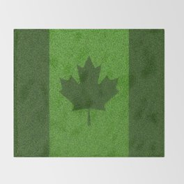 Grass flag Canada / 3D render of Canadian flag grown from grass Throw Blanket