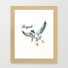 Funny seagull Framed Art Print