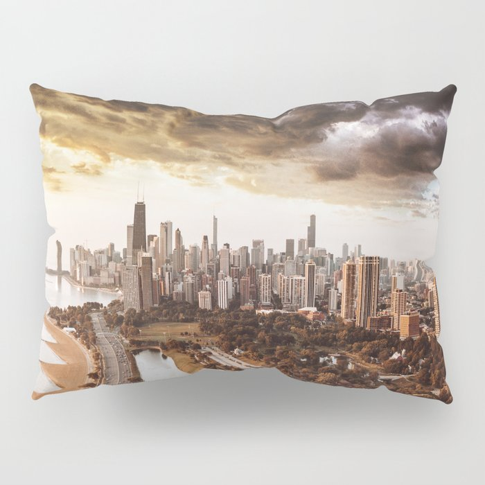 chicago aerial view Pillow Sham