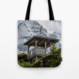Swiss Observation Tower and Monch (Monk) Mountain - Lauterbrunnen Tote Bag
