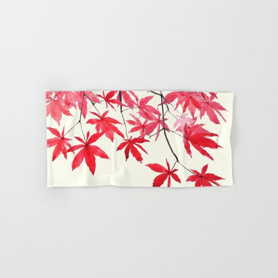 red maple leaves watercolor painting  Hand & Bath Towel
