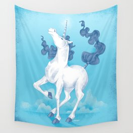 Stencil Unicorn on Teal Sky and Cloud Spray Wall Tapestry