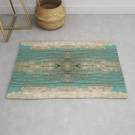 Weathered Rustic Wood - Weathered Wooden Plank - Beautiful knotty wood weathered turquoise paint Rug
