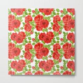 Red roses watercolor seamless pattern Metal Print