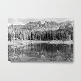 Reflection River (Black and White) Metal Print
