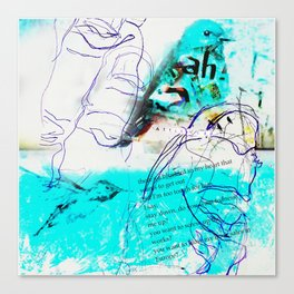 There's a Bluebird in My Art (Ode to Los Angeles, home of Charles Bukowski)... Canvas Print