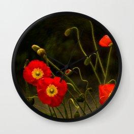 Yang Poppies Wall Clock
