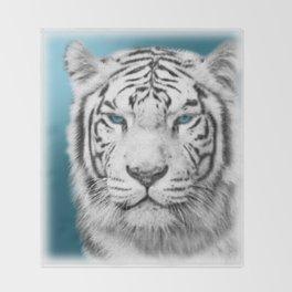 Blue Eyed White Tiger Throw Blanket