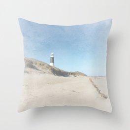 Spurn Point Lighthouse   Texture Throw Pillow