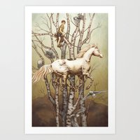 carousel Art Prints featuring Carousel by Kate O'Hara Illustration