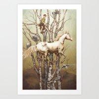 carousel Art Prints featuring Carousel by Kate O'Hara