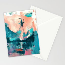 Sugar: a fun, minimal mixed-media abstract piece in pinks and blues Stationery Cards