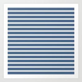 Blue and White Nautical Beach Stripes Beach Fashion Art Print