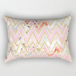 Pastel watercolor floral pink gold chevron pattern Rectangular Pillow