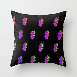 Cute alien glitchy simulation art print, green aesthetic art print, parallel space home decor, space vives Throw Pillow