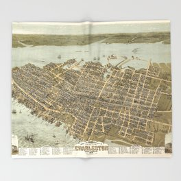 Bird's Eye View of Charleston, South Carolina (1872) Throw Blanket