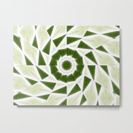 Green White Kaleidoscope Art 3 Metal Print