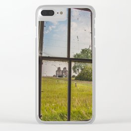 Elevators Through the School Window, Arena, ND Clear iPhone Case