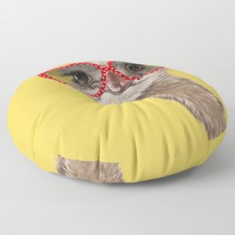 Fashion Hipster Ostrich in Yellow Floor Pillow