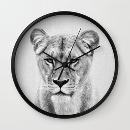Lioness - Black & White Wall Clock