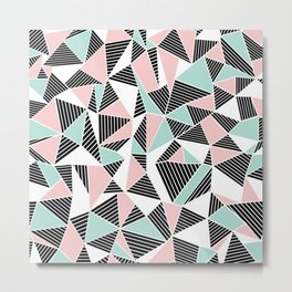 AbLines with Blush Mint Blocks Metal Print