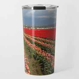 Tulip Fields with Mountain and Clouds Travel Mug